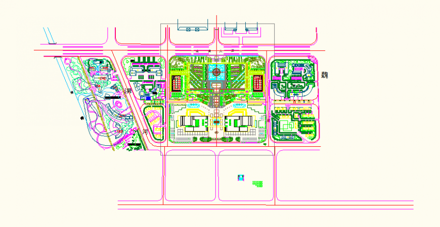 Residential housing society detail elevation plan view dwg file