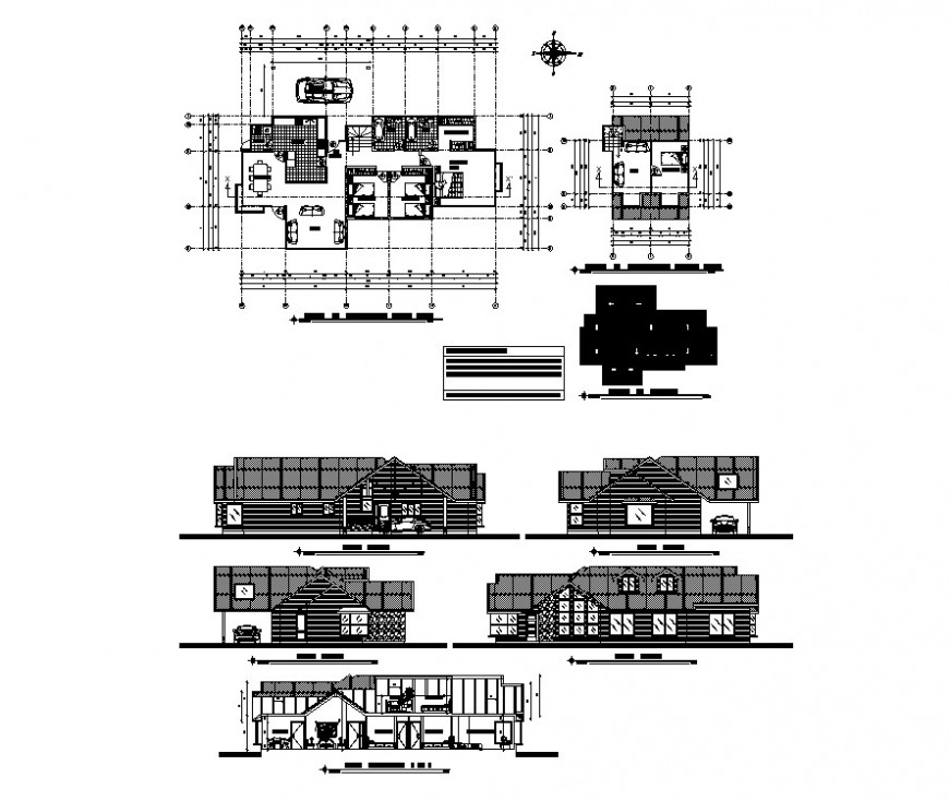 Residential housing structure detail layout plan, elevation and section autocad file