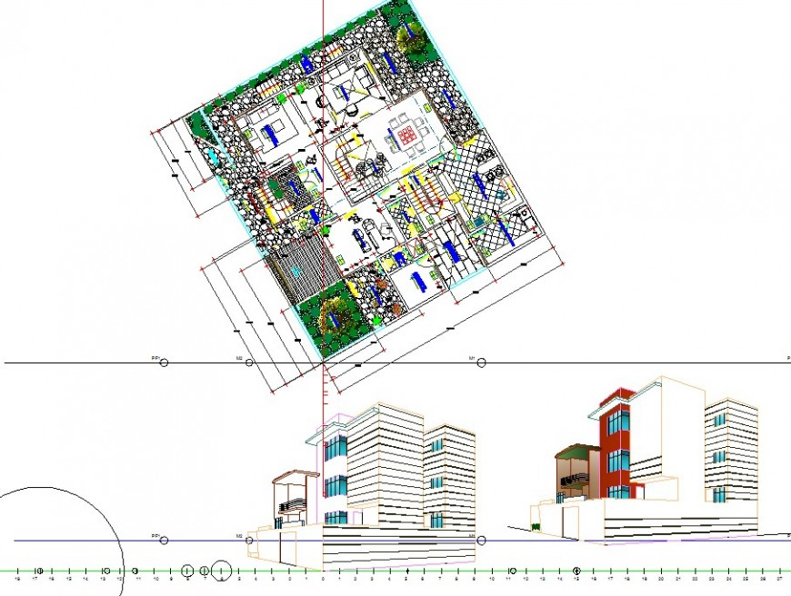 Residential housing structure detail plan 2d view CAD construction block layout autocad file