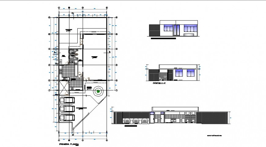 Residential housing structure details like plan, elevation and section in dwg format