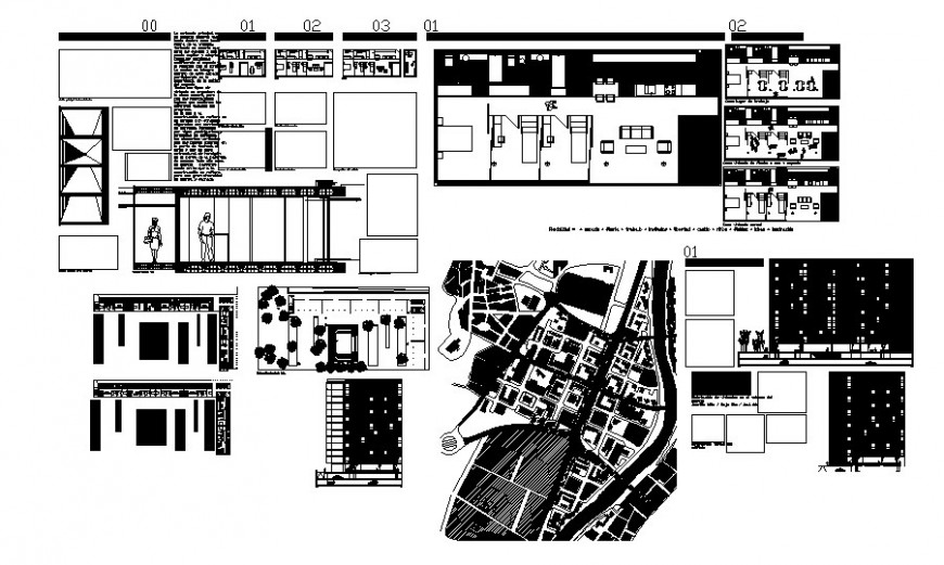 Residential housing units plan and elevation autocad file