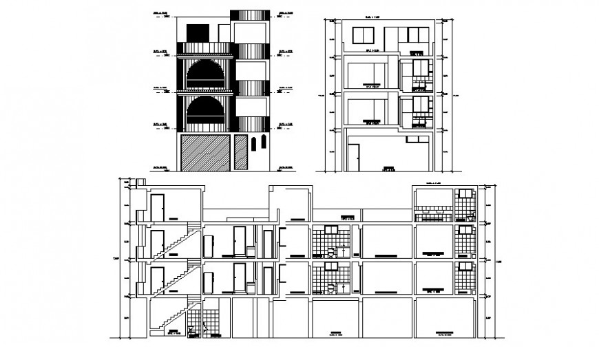 Residential living apartment elevation and section in autocad software