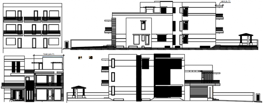 Residential luxuries bungalow all sided elevation drawing details dwg file