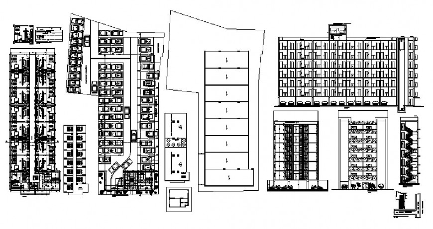 Residential multi-familiar flats all sided elevation, section, plan and structure details dwg file