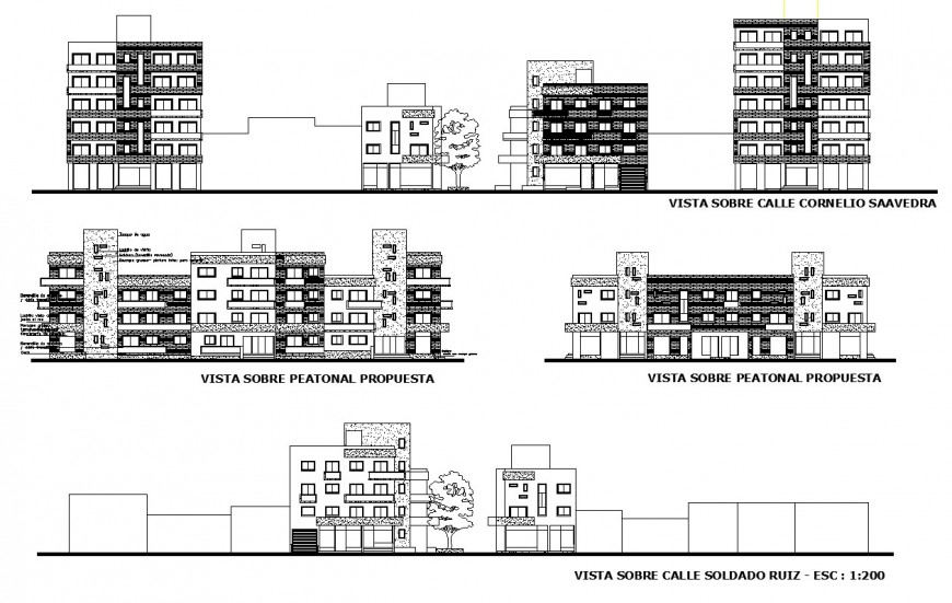 Residential multi-family apartment building all sided elevation cad drawing details dwg file