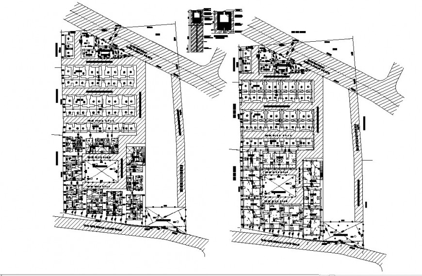Residential multi-family apartment building site layout plan details dwg file