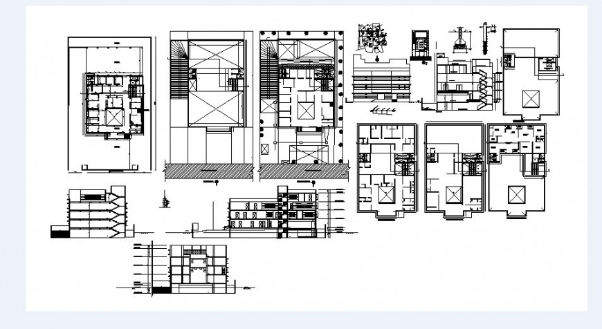 Residential multi-family building elevation, section, floor plan and structure details dwg file