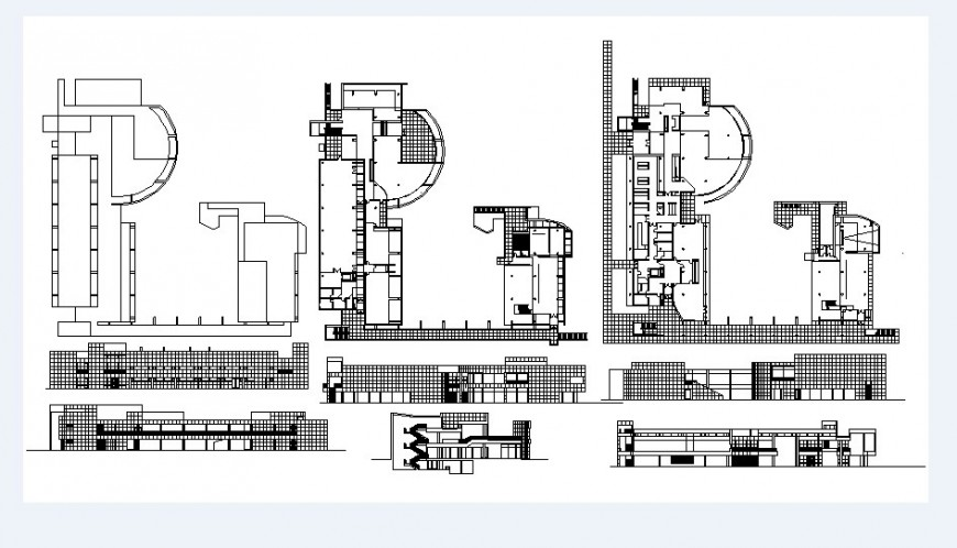 Residential multi-level building elevation, section and structure details dwg file