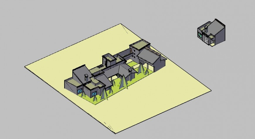 Residential multiple houses 3d model cad drawing details dwg file