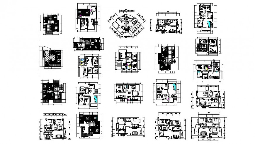 Residential one family house elevation, section, floor plan and structure details dwg file