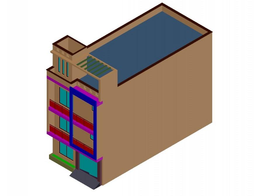 Residential one family house elevation 3d model details dwg file