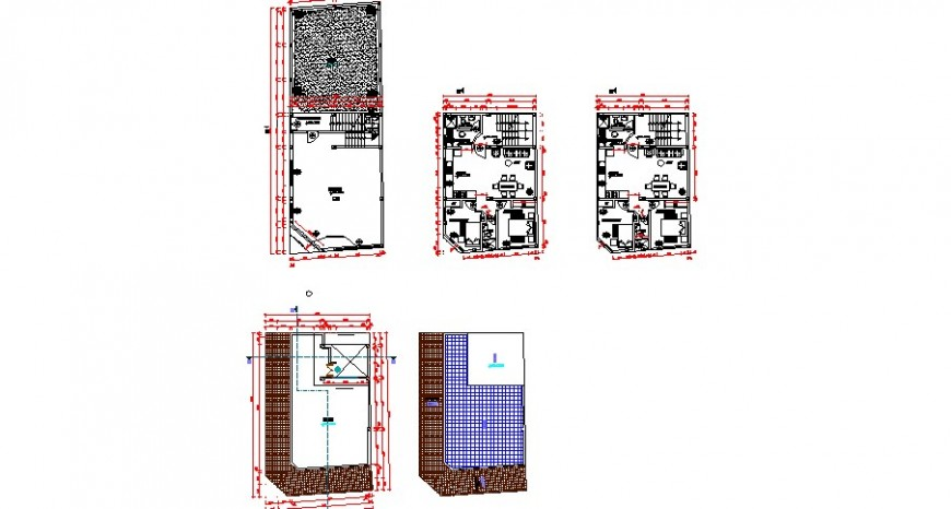 Residential one family house floor plan layout cad drawing details dwg file