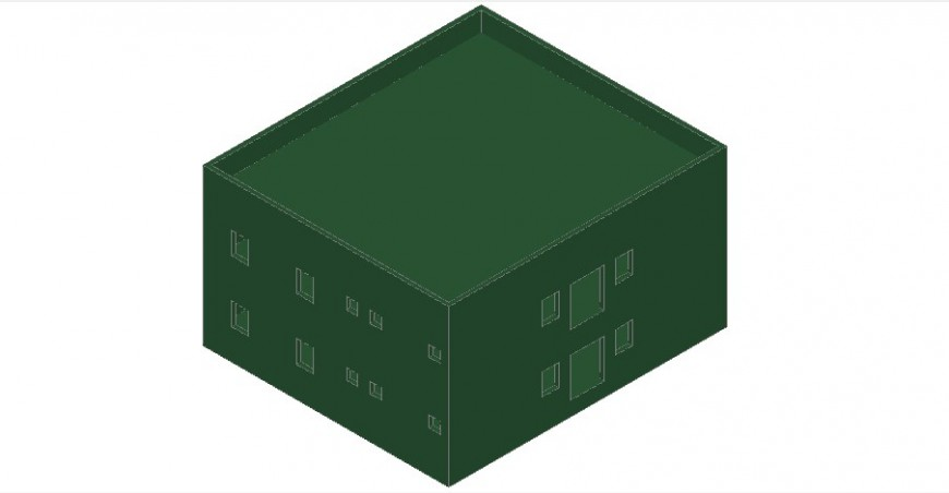 Residential one family house model 3d drawing details dwg file