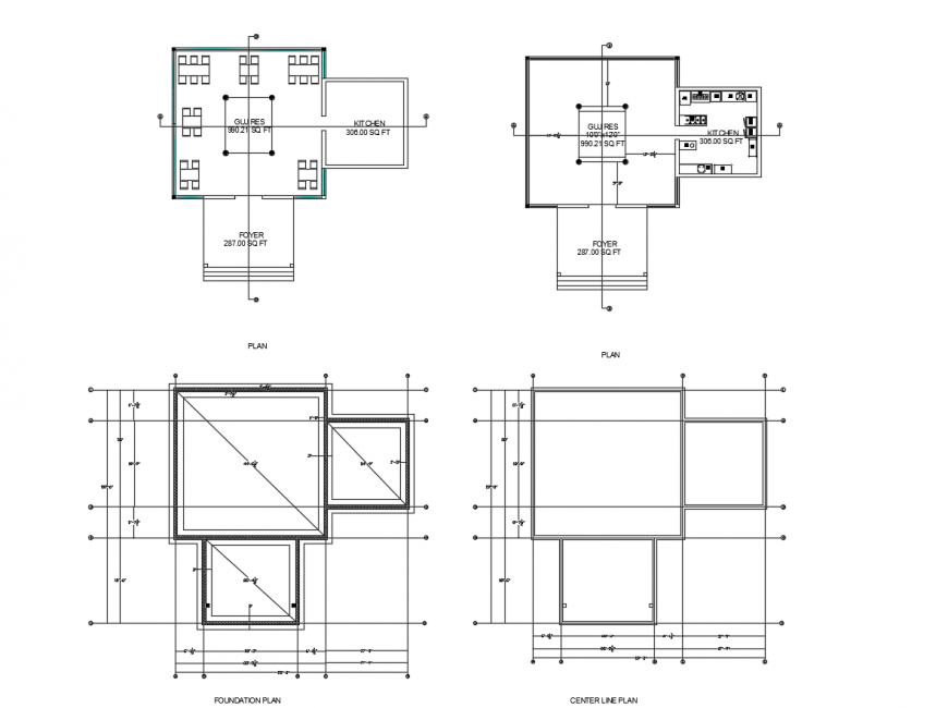 Residential plan with foundation plan in AutoCAD file