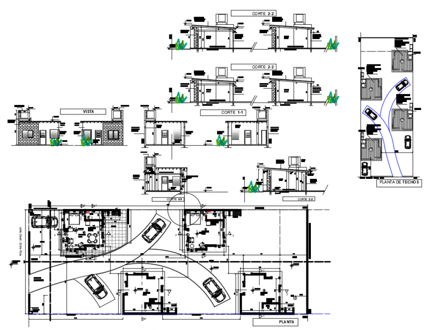 Residential single story house detailed architecture project dwg file