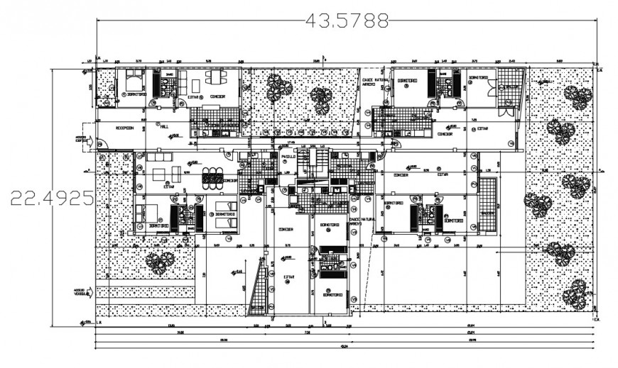Residential three bedroom house distribution plan cad drawing details dwg file