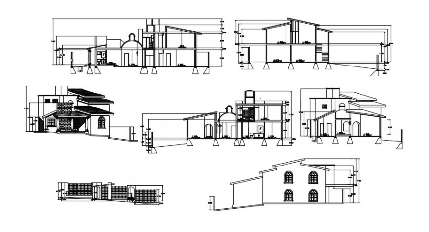 Residential three level bungalow elevation and section drawing details dwg file