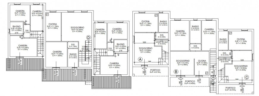 Residential twin house distribution layout plan cad drawing details dwg file