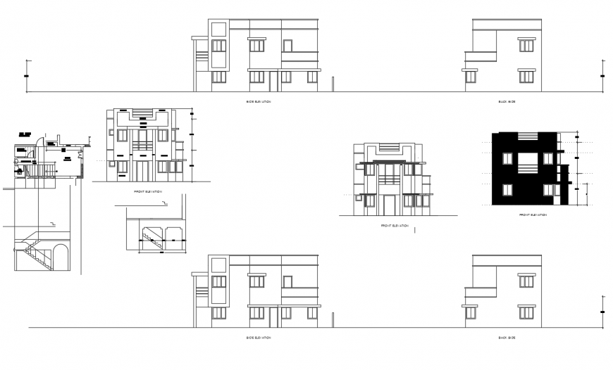 Residential two-level house elevation, section and auto-cad drawing details dwg file
