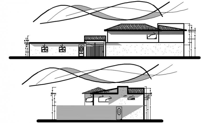 Residential two bedroom house front and side elevation drawing details dwg file