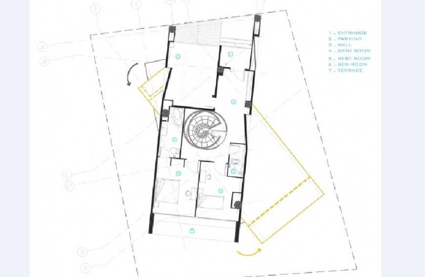 Residential two bedroom house layout plan cad drawing details jpg file