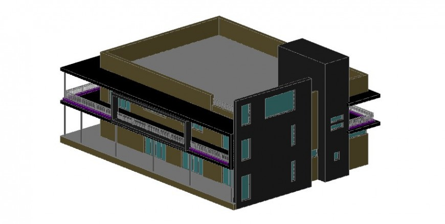 Residential two level 3d bungalow model cad drawing details dwg file