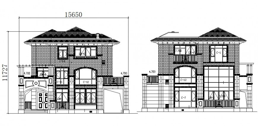 Residential two level cottage house main and back elevation cad drawing details dwg file