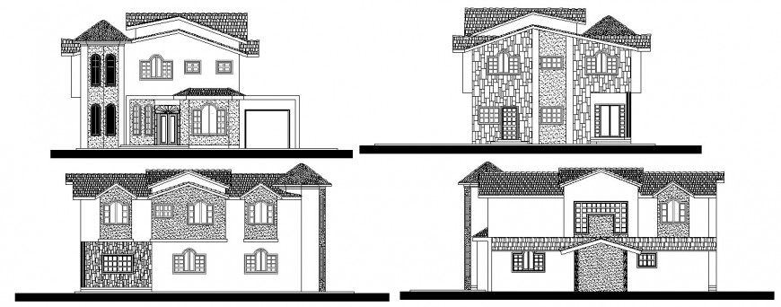 Residential two level house all sided elevation cad drawing details dwg file