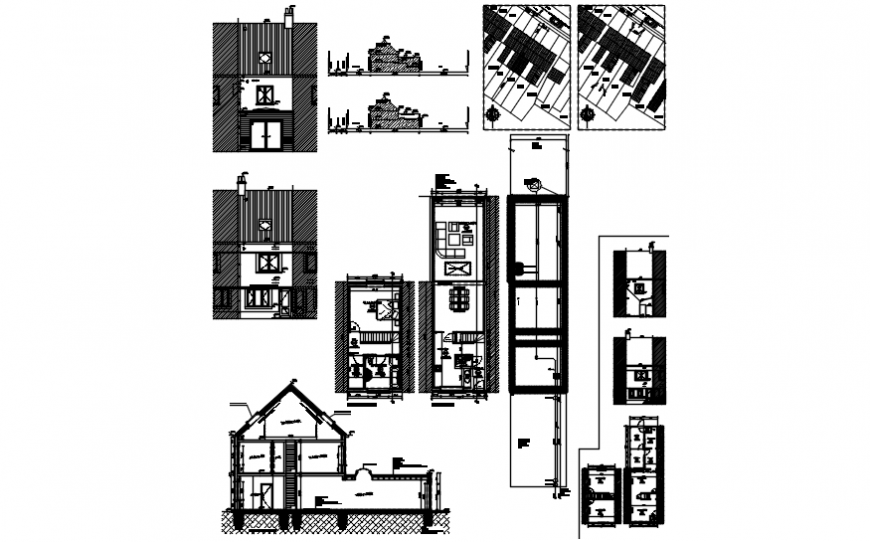 Residential two level house elevation, section and floor plan cad drawing details dwg file