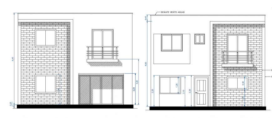 Residential two level house front and back elevation drawing details dwg file