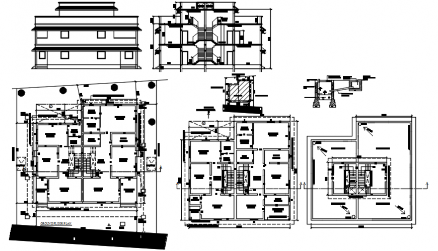 Residential two story bungalow elevation, section and floor plan details dwg file
