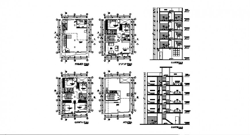 Residential villa building section and floor plan cad drawing details dwg file