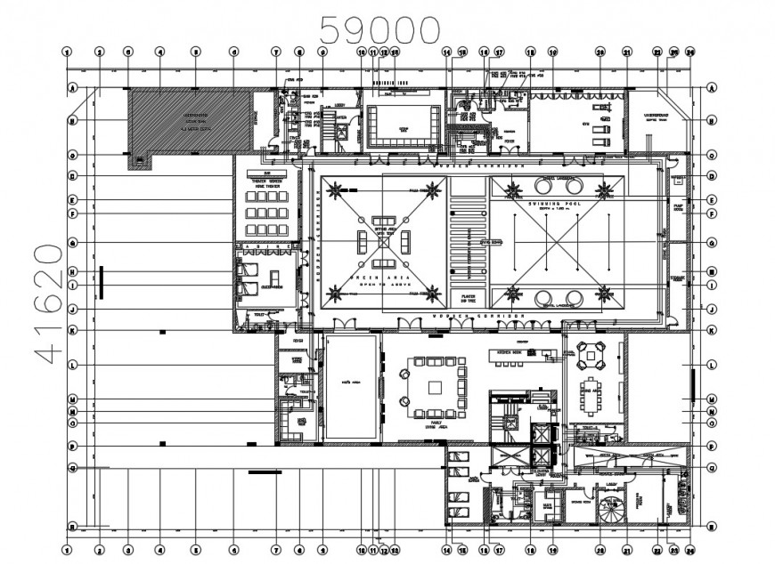 Residential villa distribution plan with furniture drawing details dwg file