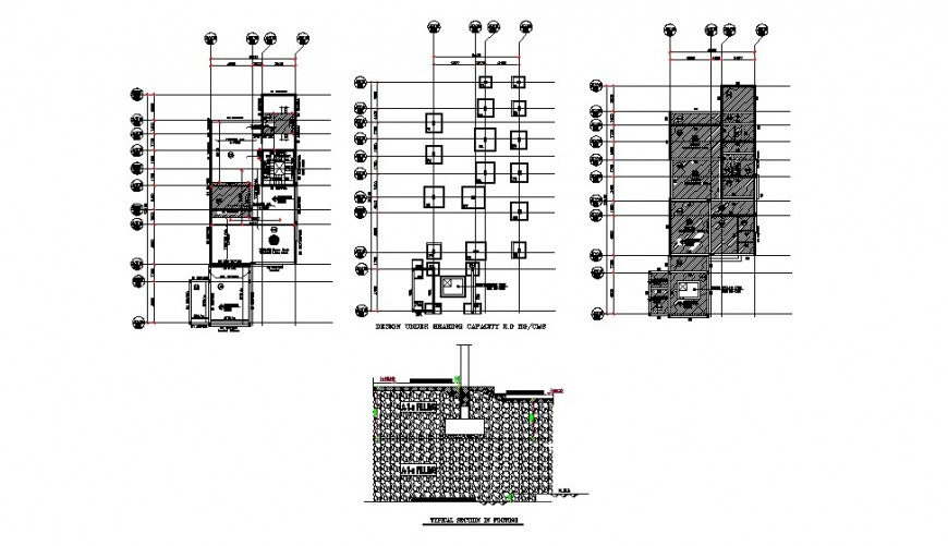 Residential villa foundation plan, wall section and structure drawing details dwg file
