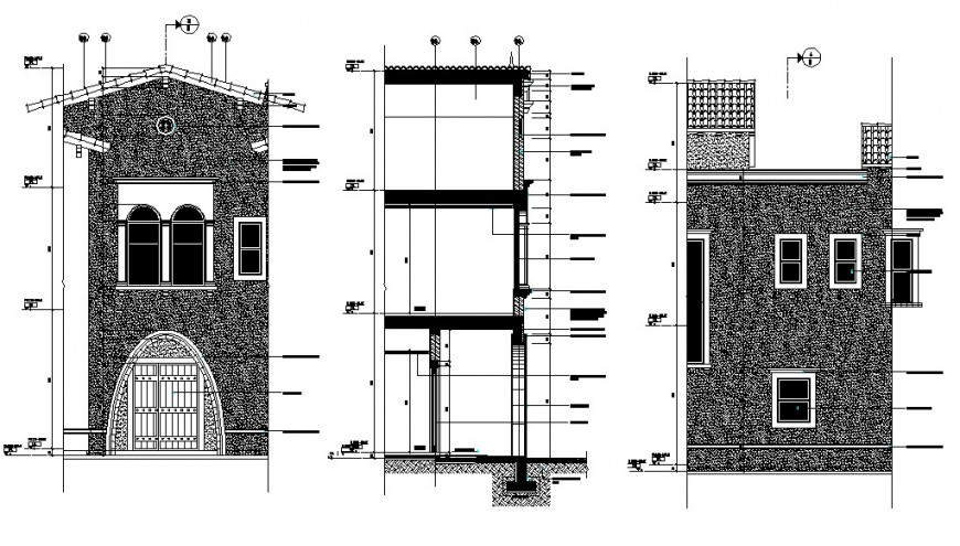 Residential villa front and side elevation and section drawing details dwg file