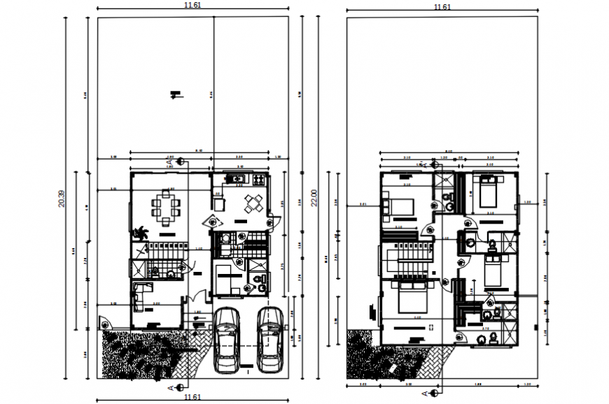 Residential villa two story floor plan distribution drawing details dwg file