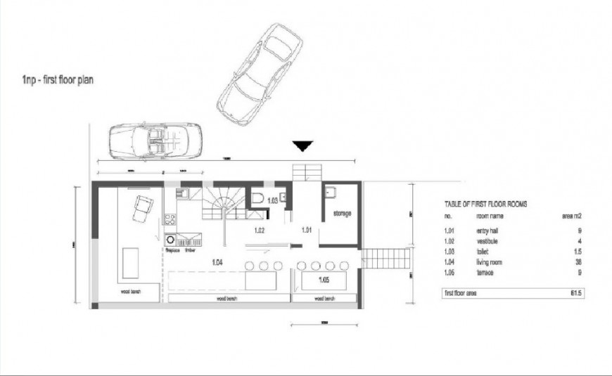 Residential wood house architecture layout plan jpg file