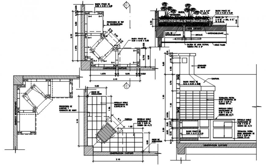 Resort 2d sectional elevation details