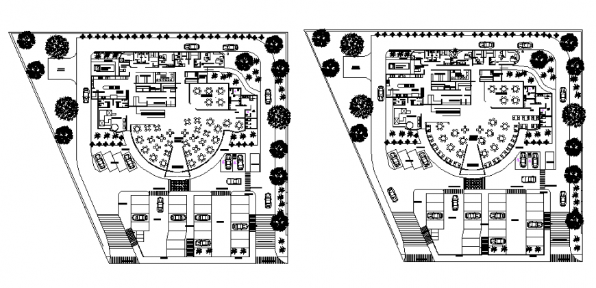 Resort and club plan drawing in dwg file.