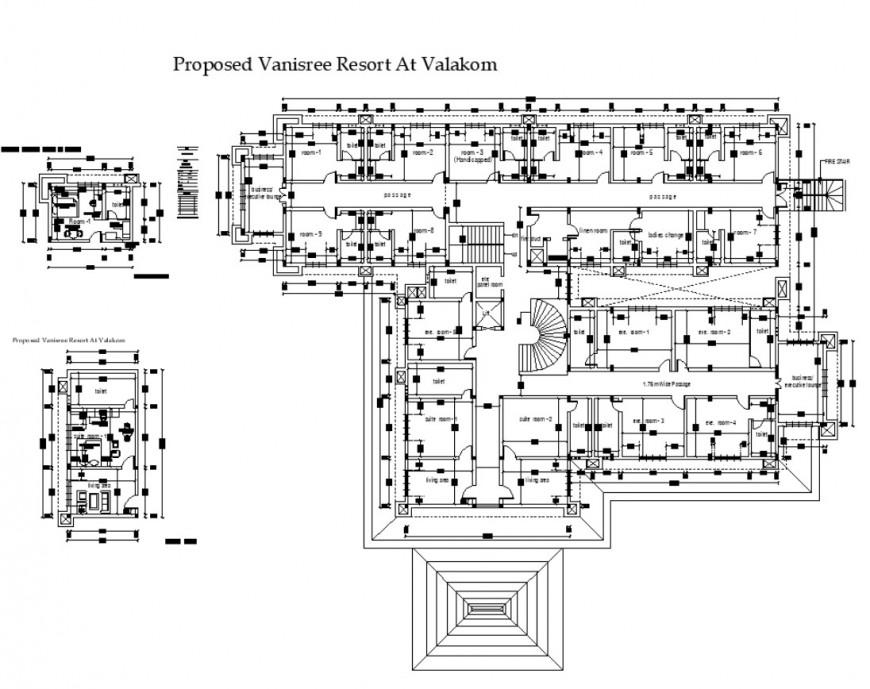 Resort building detail 2d view plan autocad file