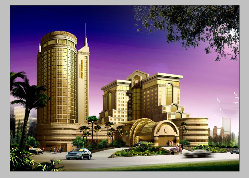 Resort building detail 3d model elevation layout PSD file