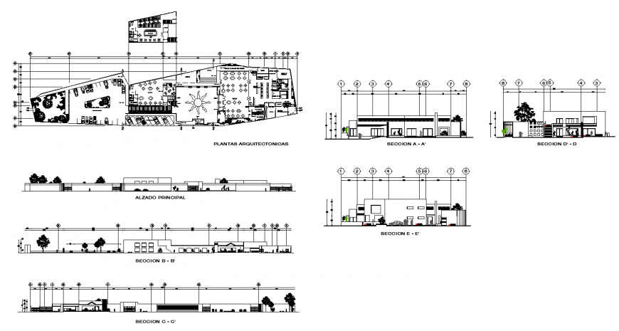Resort building structure working plan layout file