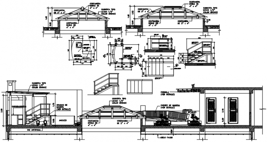 Resort cottages constructive section with roof cad drawing details dwg file