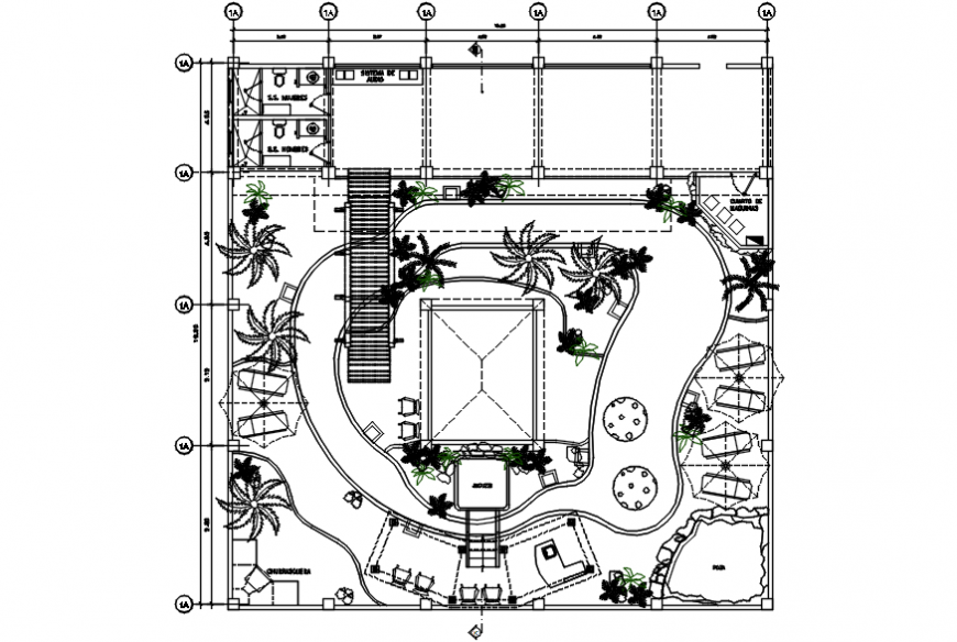 Resort garden landscaping structure and plan cad drawing details dwg file