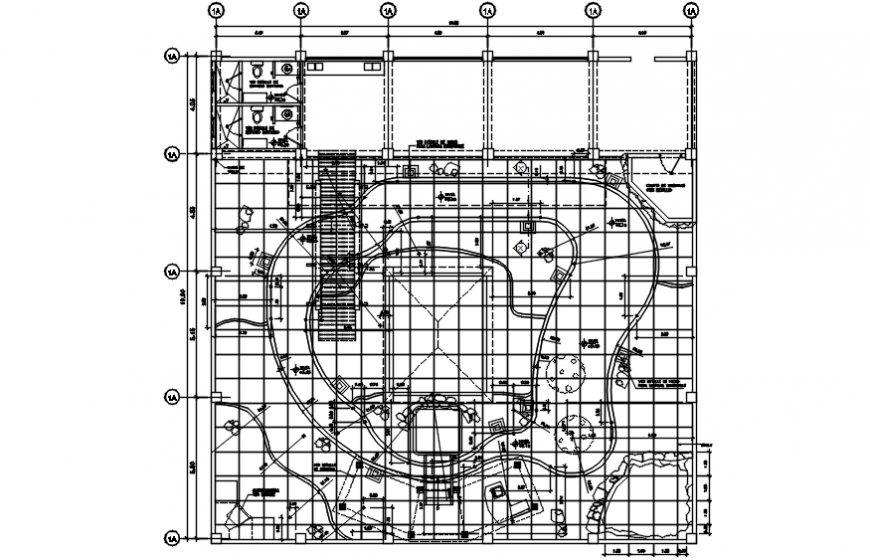 Resort garden layout plan and landscaping structure details dwg file