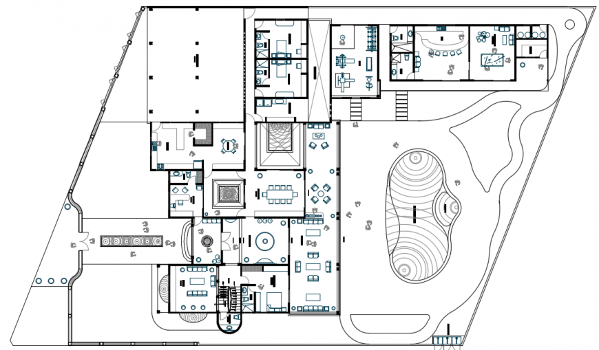 Resort layout plan autocad software file