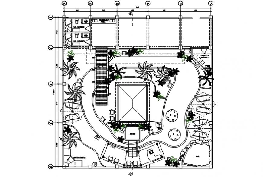Resort top view garden