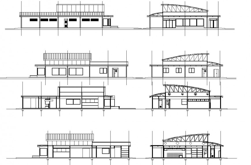 Restaurant all side elevation and section drawing in dwg file.