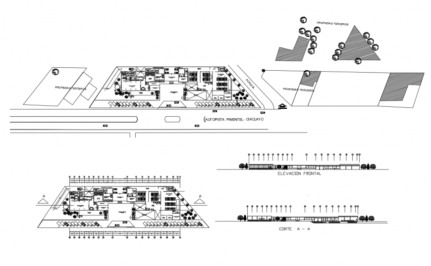 Restaurant and convention center floor plan distribution drawing details dwg file