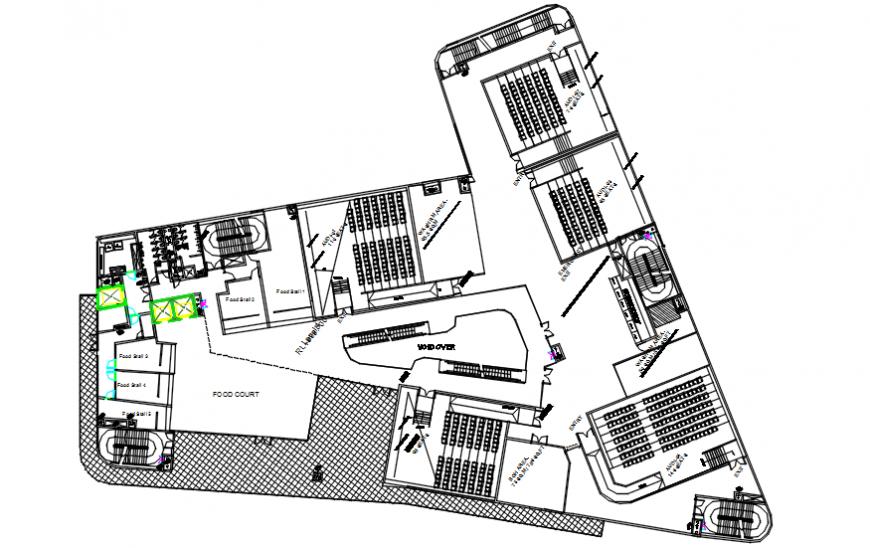 Restaurant area plan in auto cad